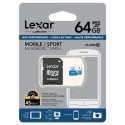 LEXAR MICRO SDHC 64GB 300x HIGH SPEED WITH ADAPTER (CLASSE 10)