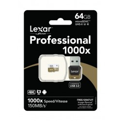 LEXAR MICRO SDHC 64GB 1000x UHS-II WITH READER (CLASSE 10)