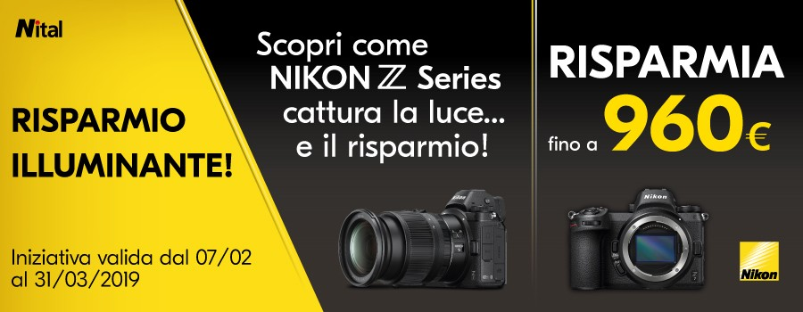 Promozione Nikon Z e NIKKOR Z: RISPARMIO ILLUMINANTE - Fino a 960€ di risparmio.